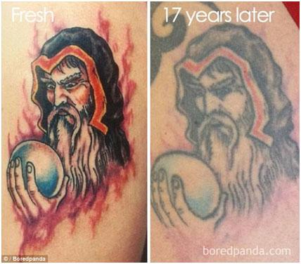 Цветные татуировки - старение цветной татуировки